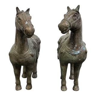 Pair of Antique Metal Chinese Horse Figures For Sale