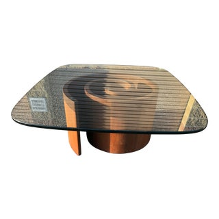 Vladimir Kagan Walnut and Glass Snail Rounded Rectangle Coffee Table For Sale
