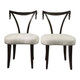 1940s Vintage Grosfeld House Swag Back or Draped Occasional Chairs - a Pair For Sale