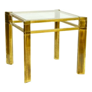 1970s Mastercraft Brass and Glass Side Table For Sale