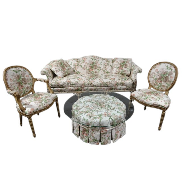 Hickory Chair Co. Floral Camel Back Bamboo Sofa - Image 11 of 11