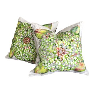 Hand-Painted Hydrangea Decorative Throw Pillows - a Pair For Sale