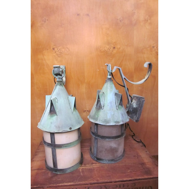 1910s Arts and Crafts Era Mission Style Verdigris Patina Laterns-a Pair For Sale - Image 12 of 13