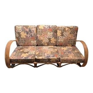 Mid-Century Rattan Wicker Sofa For Sale