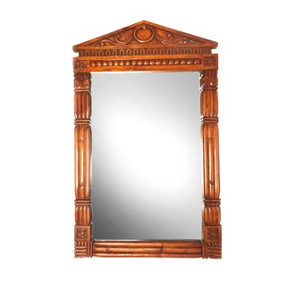 Vintage Parthenon Style Mid Century Solid Wood Hand Carved Mirror For Sale