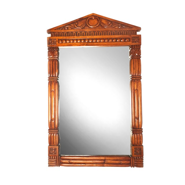 Vintage Parthenon Style Mid Century Solid Wood Hand Carved Mirror