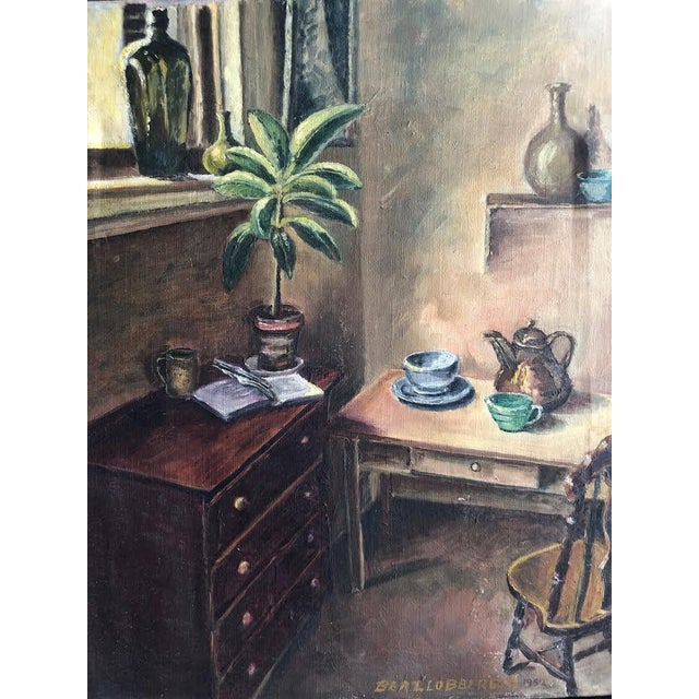 "This is lovely sitting room still life oil painting on canvas signed on the bottom front ""Bert. Lobberegt 1952"""