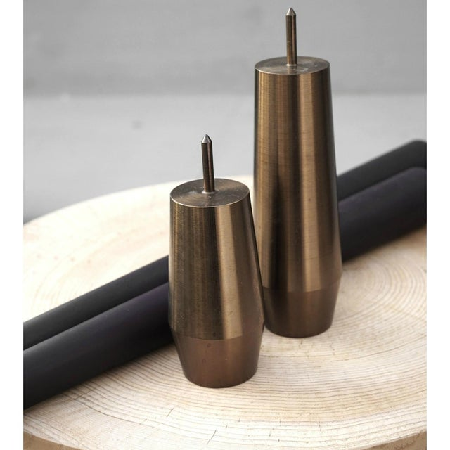 Contemporary 'Candlestick Grove' Heat Treated Steel Candlesticks - Set of 2 For Sale - Image 3 of 5