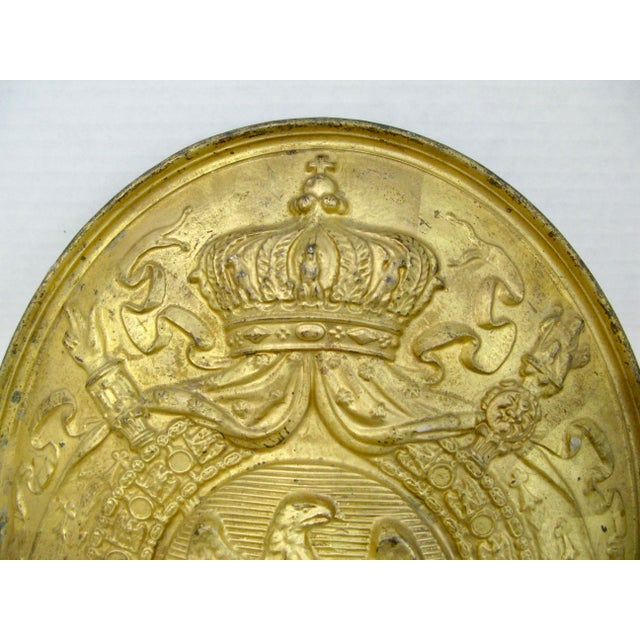Early 19th Century Antique French 1st Empire Brass Oval Notary Plaque For Sale - Image 5 of 13