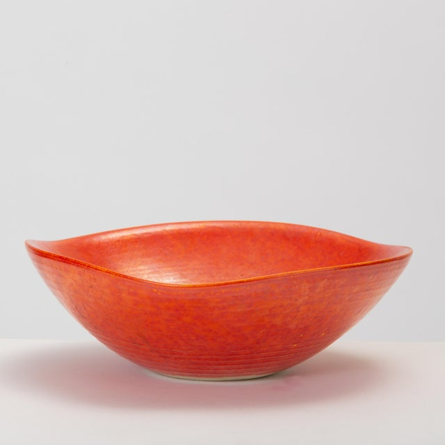 Red Glazed Studio Pottery Bowl For Sale - Image 4 of 12
