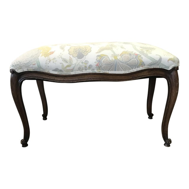 Itallian Upholstered Wood Ottoman For Sale