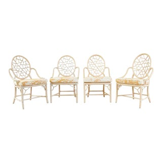 Set of Four McGuire Rattan Cane Cracked Ice Dining Chairs For Sale