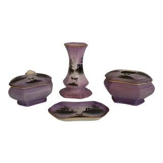 Antique English Porcelain, Purple Scenic Dresser Set - 4 Pieces For Sale