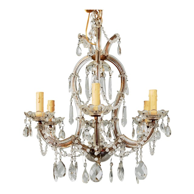 Small French Seven Light Maria Theresa Crystal Chandelier For Sale