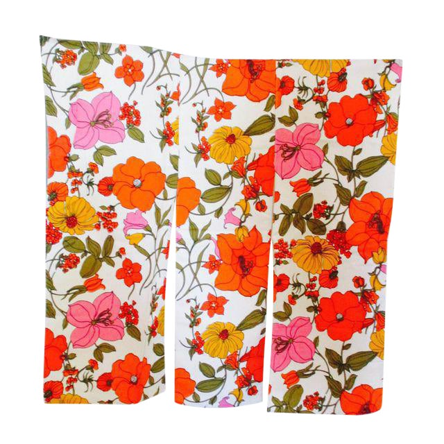 Vintage Swedish Flower Wall Panels Curtains Textile - Set of 4 - Image 1 of 10