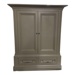 Cottage Style Custom Built Gray Cabinet For Sale