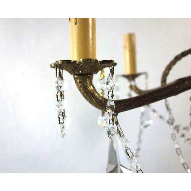 Ornate French Brass Chandelier With Crystal Beads - Image 3 of 7