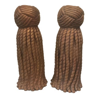 Rope & Tassel Candle Holders- A Pair For Sale