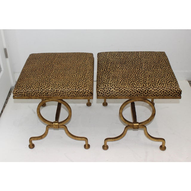 1940s Vintage Arbus Style Gilt Wrought Iron and Faux Leopard Low Stools - a Pair For Sale - Image 5 of 9