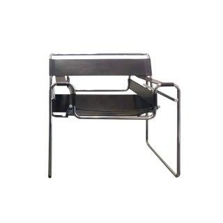 1980s Vintage Original Marcel Breuer for Stendig Brown Leather & Chrome Wassily Chair For Sale