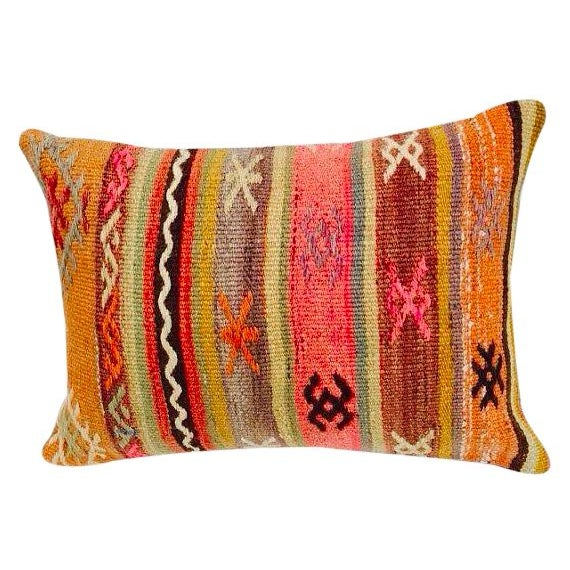 Turkish Orange & Tan Striped Kilim Pillow - Image 1 of 7