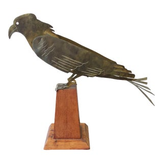 American Folk Art Brass Cut Out Hawk Sculpture on Wood Base For Sale