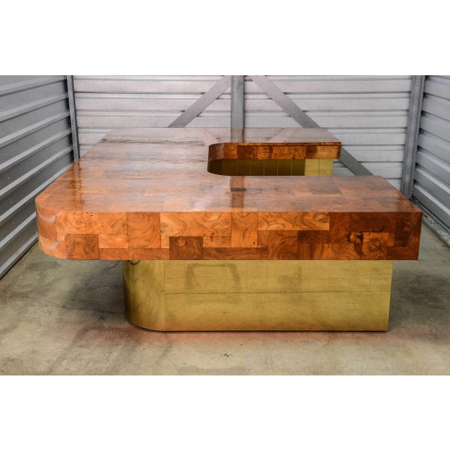Very Rare Brass Bottom Directional Cityscape Desk by Paul Evans For Sale In Miami - Image 6 of 10