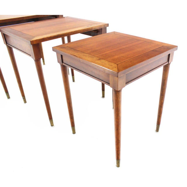 Set of Three Mid-Century Modern Walnut Nesting Tables For Sale - Image 4 of 6