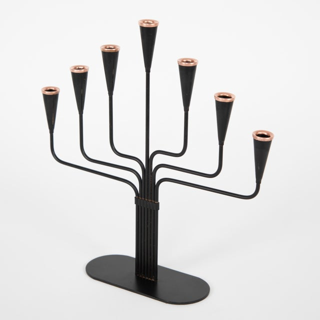 Copper Pair of Gunnar Andersen for Ystad-Metall Candelabrum Circa 1960s For Sale - Image 8 of 10