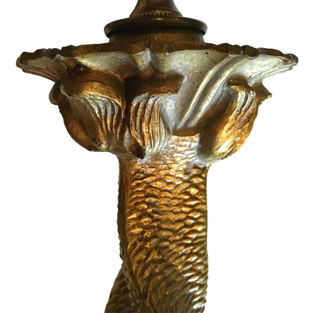 Gilded Chinoiserie Dophin Trio Lamp - Image 3 of 7