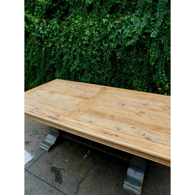1990s Palazzo Rustic Trestle Pine Dining Table For Sale - Image 5 of 12