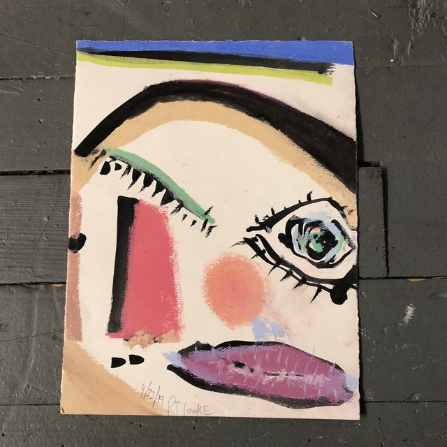 2010s Original Contemporary Robert Cooke Abstract Face Painting Heightened With Pastel For Sale - Image 5 of 5