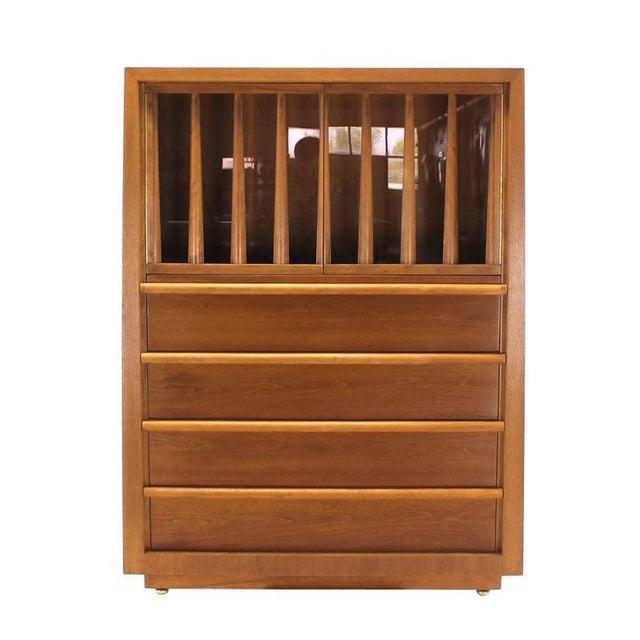 Mid-century modern Robsjohn Gibbings walnut multifunction cabinet.