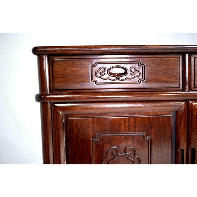 Vintage Rosewood Effect Chinoiserie Credenza Server Cabinet For Sale - Image 10 of 13