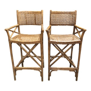 Contemporary Bamboo + Rattan Counter Stools - a Pair