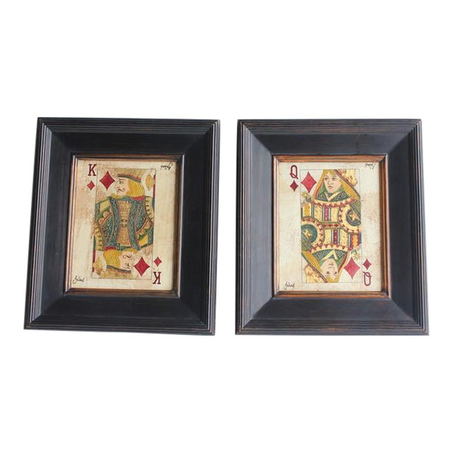 Folk Art Queen & King Game Cards Oil Paintings by Julius - Image 1 of 4