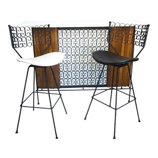 Arthur Umanoff Shaver Howard Grenada Dry Bar & Bar Stools - Set of 3