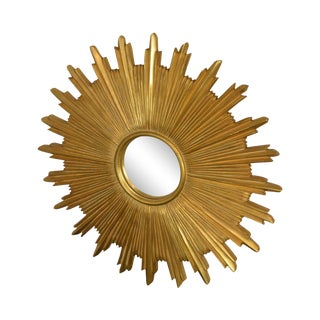 Carvers' Guild Gold Giltwood Frame Sunburst Wall Mirror For Sale