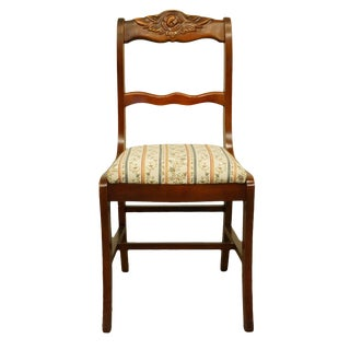1940's Vintage Antique Duncan Phyfe Cherry Rose Back Side Chair For Sale