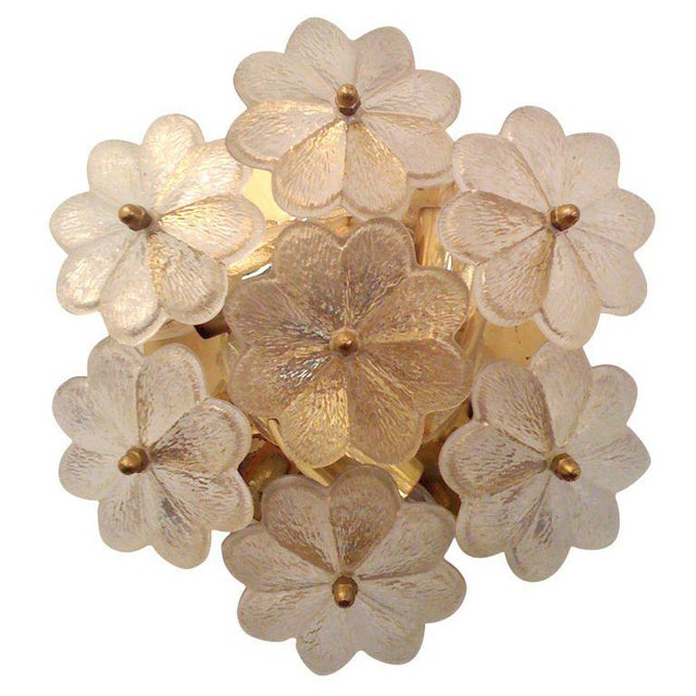 Metal 1950s Mid-Century Modern Austrian Glass Ceiling Light For Sale - Image 7 of 7