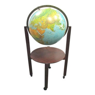 Mid-Century Lighted World Globe on Stand For Sale