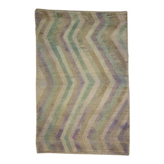 Vintage Turkish Tulu with Pastel Chevron Design in Soft Muted Colors