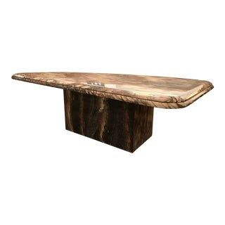 Modern Marble Pedestal Kidney Shaped Large Coffee Table For Sale
