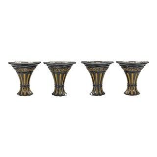Art Deco Empire Giltwood Sconces Black & Gold Ebonized Giltwood - Set of 4 For Sale