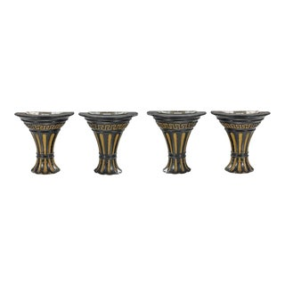 Art Deco Empire Style Black & Gold Ebonized Giltwood Wall Light Sconces - Set of 4 For Sale