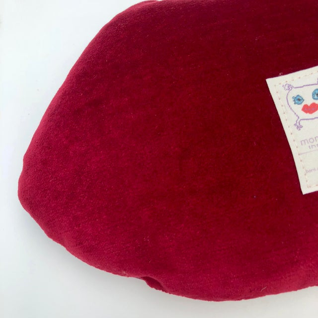 "White Large ""Embrasse Moi"" Red Velvet Hot Lips Pillow For Sale - Image 8 of 11"