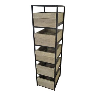 Rustic Wood and Iron Shelves Tall Storage Cabinet Boho Chic Rustic Modern Farm For Sale