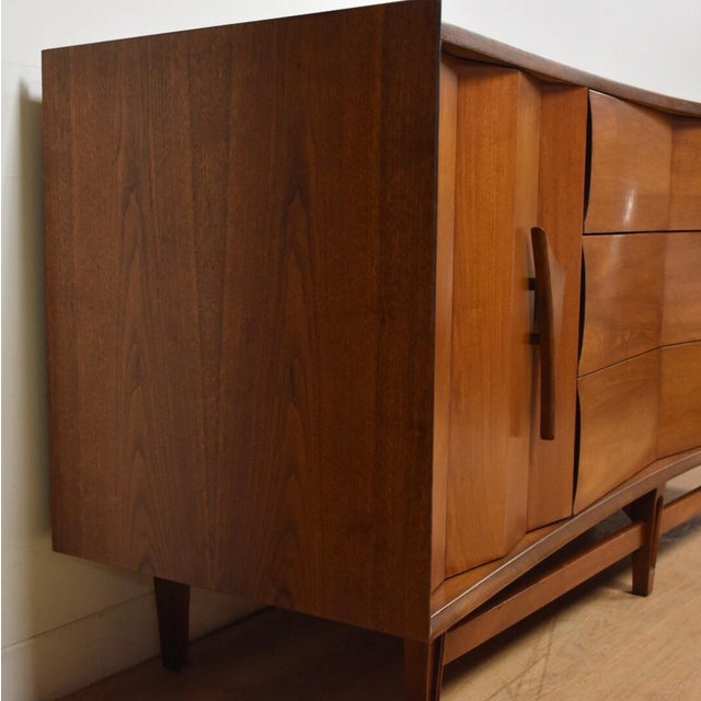 Mid-Century Sculpted Walnut Dresser - Image 5 of 11