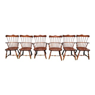 Vintage S Bent brothers Bros Colonial Windsor Chairs - Set of 6 For Sale