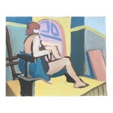 """Image of """"Yellow Floor"""" 1950's Gouache Painting Mid Century Female Nude San Francisco Artist For Sale"""